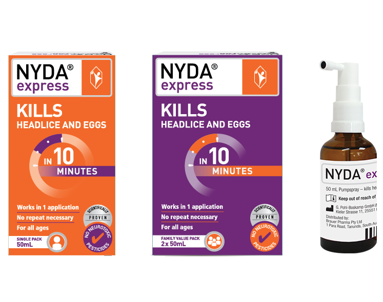Product photos 50 ml and 100 ml NYDA® express for lice and nits
